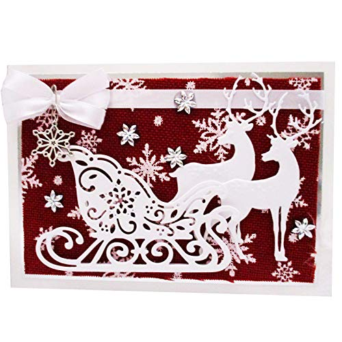 Cutting Dies for Card Making, YunTrip Christmas Deer Metal Cutting Die Cut Stencils for DIY Scrapbooking Photo Album Paper Decorative Craft for Greeting Cards/Invitation
