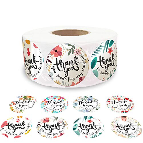 Thank You Stickers Roll of 500, 8 Floral Designs 1.5 Inch [Limited Edition]| Thank You Sticker Roll Boutique Supplies for Business Packaging | Thank You Stickers for Lash Boxes, Product Bags