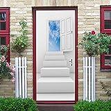 2PCS Adesivo per porte 3D PVC rimovibile Wall Sticker per Home Decor Wall Stencil per soggiorno camera da letto Cucina sfondo