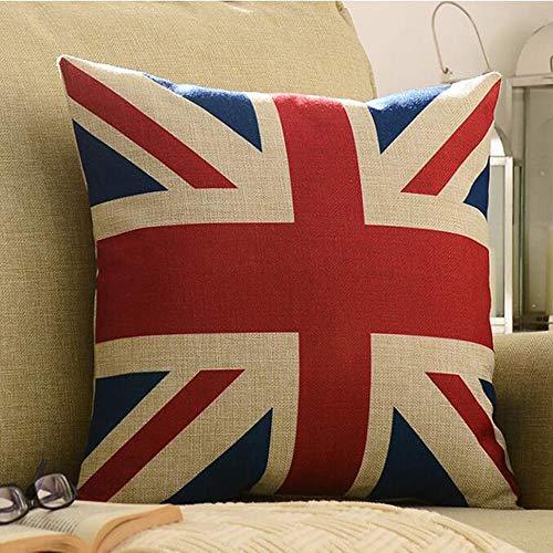 Funda de cojín de lino con bandera de Reino Unido, 45,7 x 45,7 cm, diseño de bandera de Reino Unido