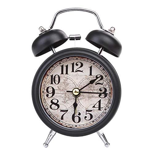 FPRW wekker met dubbele bel, digitaal alarm voor kantoor, analoog, van metaal, met LED-licht, zwart (12,5 x 7,3 x 5 cm)