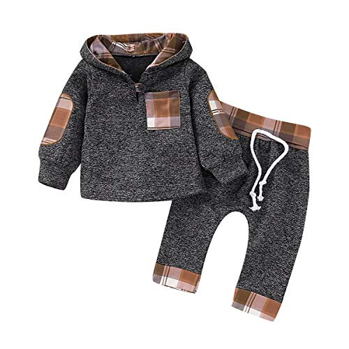 Newborn Baby Boy Clothes Outfits Infant Baby Girl Long Sleeve Hoodie Tops + Pants Khaki Plaid 3-6 Months
