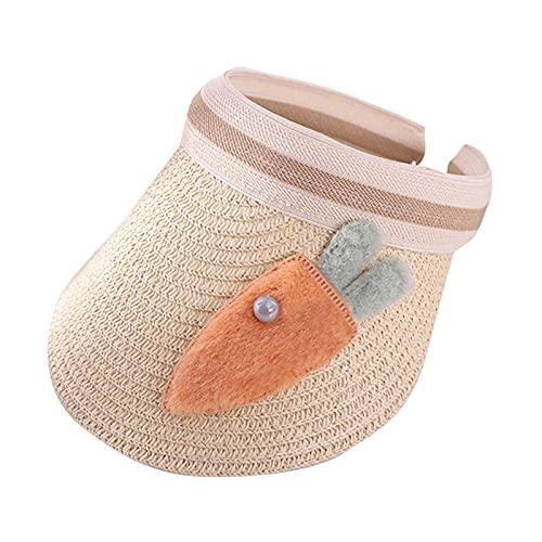 Sombrero infantil de verano con dibujos animados y zanahorias, visera recortada en la parte superior, tapa de paja, exterior bonito sombrero para el sol., beige, Talla única