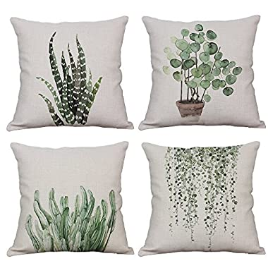 YeeJu Set Of 4 Green Plant Throw Pillow Covers Decorative Cotton Linen Square Outdoor Cushion Cover Sofa Home Pillow Covers 18x18 Inch