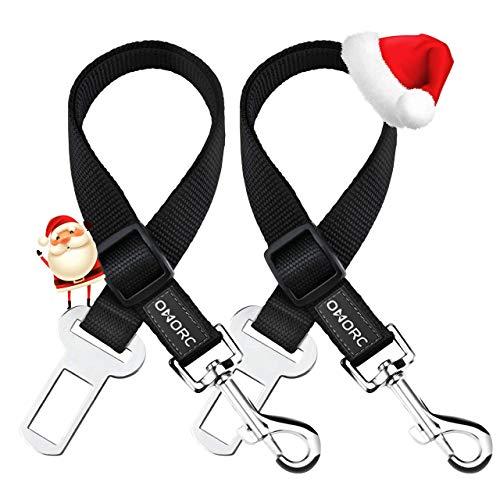 OMORC 2 Cinturón de Seguridad de Coche para Perros, Arnés del Cinturón de Nylon Ajustable Universal para trasportar Mascotas 2pcs/Pack Más Duradero【Versión Mejorada】