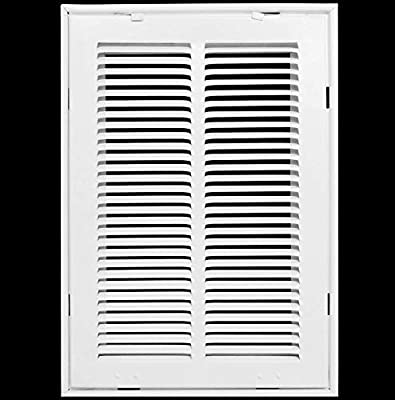 """10"""" X 20 Steel Return Air Filter Grille for 1"""" Filter - Fixed Hinged - Ceiling Recommended - HVAC Duct Cover - Flat Stamped Face - White [Outer Dimensions: 12.5 X 21.75]"""