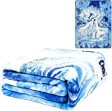 Royal plush Extra Heavy Queen Size Mink Blanket - Polar Bears and Northern Lights (79' x 85')