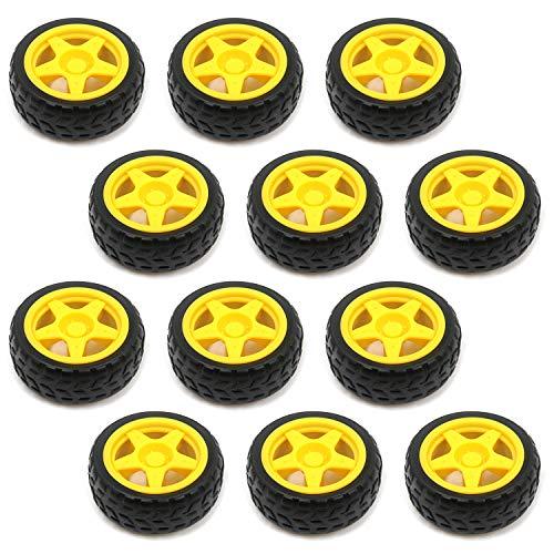 Tulead Toy Tire Wheels Plastic Wheels Robot Parts 2.6-Inch Diameter Gear Wheel Pack of 12