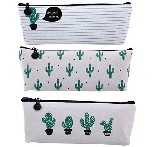 Cactus Pastoral Pencil Pouch Travelling Makeup Bag Bandage Canvas Pencil Case - Set of 3