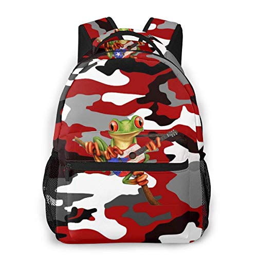 Lawenp Fashion Unisex Backpack Black White Red Camouflage Bookbag Lightweight Laptop Bag for School Travel Outdoor Camping