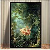 ZNNHEROFamoso Lienzo Rococó Pintura The Swing De Fragonard Carteles Impresiones Cuadro De Arte De Pared para Decoración De Sala De Estar-60X90Cmx1 Sin Marco