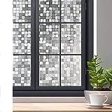 rabbitgoo Privacy Window Film, 3D Decorative Window Clings, No Glue Removable Static Glass Door Window Stickers, Sun Blocking Anti-UV Window Tint for Home, Mosaic 17.5 x 78.7 inches