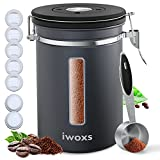 iwoxs Large Stainless Steel Coffee Canister, Airtight Coffee Container with Date-Tracker, Measuring Scoop and Transparent Window, 22 oz Storage Container for Grounds, Tea, Flour, Cereal, Sugar, Gray