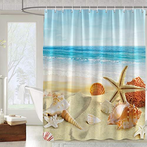 Bonhause Duschvorhang 180 x 180 cm Muschel Seestern Strand Duschvorhänge Anti-Schimmel Wasserdicht Polyester Stoff Waschbar Bad Vorhang für Badzimmer mit 12 Duschvorhangringen