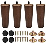 Sangle Sopffy 4Pcs Wooden Furniture Legs 6 inch Vintage Couch Hardware Accessaries Great Sofa Replacement Legs for Armchair Recliner Coffee Table Dresser Bed,Brown (Sofa Leg Round)