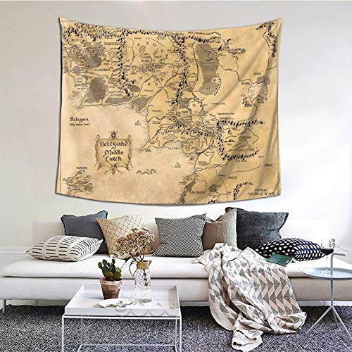 Carwayii Middle Earth Map Tapestry Decorative Wall Hanging Vintage Home Decor King Art Print Non-Fading Artwork Durable Tapestries for Living Room Bedroom Apartment -M 50x60