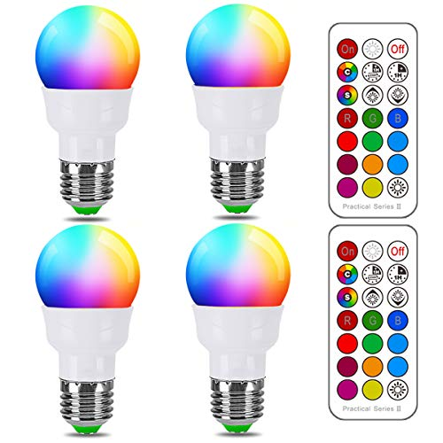RGB LED Light Bulb, Color Changing Light Bulb, 40W Equivalent, 450LM, 2700K Warm White 5W E26 Screw Base RGBW, Flood Light Bulb- 12 Color Choices - Timing Infrared Remote Control (4 Pack)