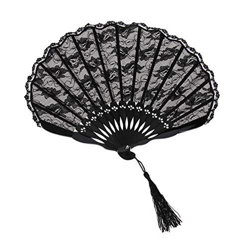 Garneck Abanico Plegable Concha de Encaje abanicos Plegables Abanico Chino Tai chi Abanico en Blanco Abanico Pintura Prop Prop Fan Fan Abanico Plegable para la decoración del Banquete de Boda (Negro)