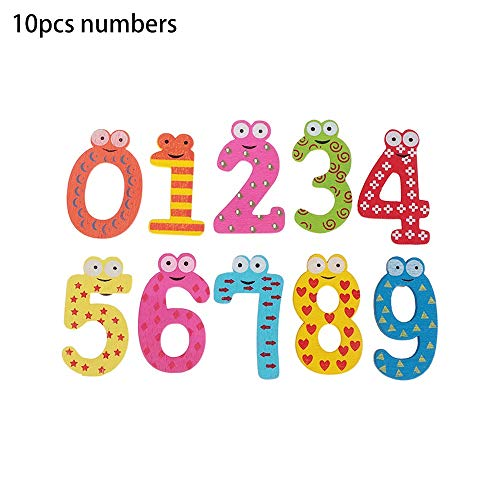 Wooden Colorful 0-9 Magnet Numbers 26Pcs A-Z Cartoon Magnetic Alphabet Letters Fridge Sticker Early Educational Toys(10pcs numbers)