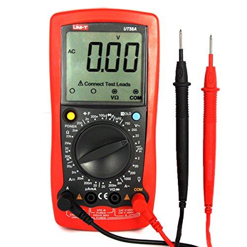 UNI-T UT58A Digital Multimeter Auto Range Multi Tester zum Messen von Gleich(DC) - und Wechsel(AC)-Spannung, Strom, Dioden sowie Widerstand Meter mit LCD Hintergrundbeleuchtung