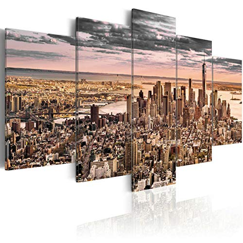 New Modern Wall Art Set of 5 Gray Sky of Manhattan Wall Art Painting Pictures Print On Canvas Art The Picture for Home Decor Decoration Gift