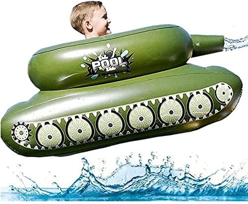 YILYMINA Aufblasbare Pool Spielzeug Panzer für Kinder Erwachsene, Luftmatratze Boot/Wasserspielzeug, Wasserhängematte Ruderspielzeug, Planschbecken mit Wasserpistolen für Strand Wassersport,Green