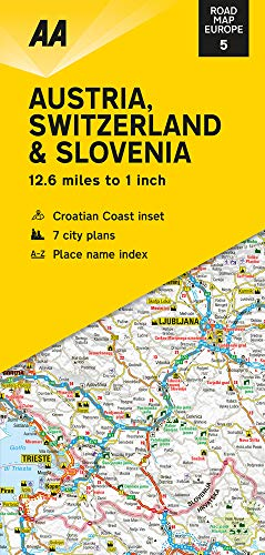 Road Map Austria, Switzerland & Slovenia (AA Road Map Europe, Band 5)