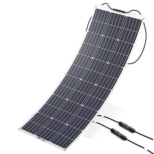 ALLPOWERS 100W 18V 12V Solarmodul Solarpanel Flexibel Solarladegerät Monokristallin Solarzelle Outdoor wasserdichte mit Ladekabel für Wohnmobil, Auto, Boot 12V Batterien