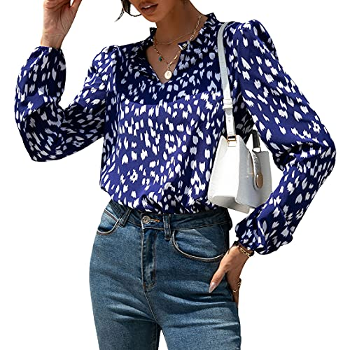 Wellwits Camisa de blusa vintage para mujer con estampado blanco marino, azul, L