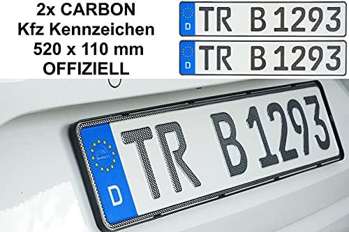 2x CARBON Optik Kfz Kennzeichen 520 x 110 mm OFFIZIELL Nummernschilder 520 x 110 mm 52 x 11 cm Nummernschilder Autoschilder // Wunschkennzeichen // Saison // H Historisch // E Elektro
