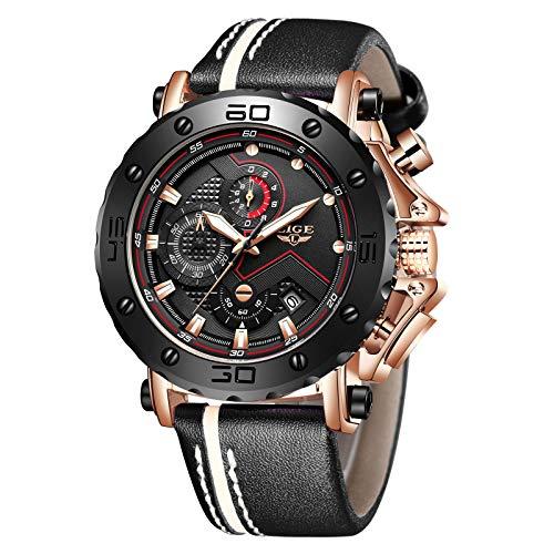 Relojes para Hombres,LIGE Cronógrafo Impermeable Militar Deportivo Reloj Analógico de Cuarzo Correa de Cuero Big Face Fecha Moda Casual Relojes de Pulsera Oro Rosa Negro…