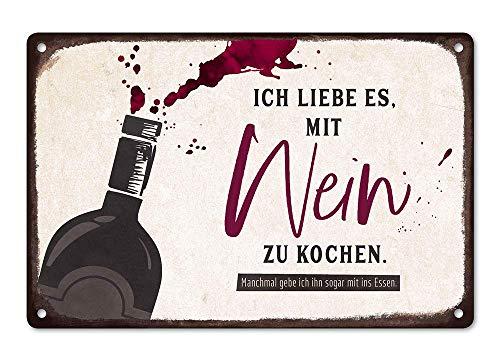 Grafik-Werkstatt Wand-Schild, Blechschild, Vintage-Art, Ich Liebe es mit Wein zu Kochen Wandschild, Blech, groß