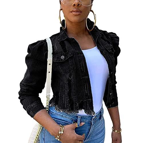 Damen Jeansjacke Große Größe Zerrissene Jeans Jacke Beiläufig Streetwear Strickjacken Einreiher Langarm Outwear Mode Boyfriend Denim Kurz Mantel Vintage Übergangsjacke Damenjacke