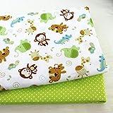 PXC 2Pcs Dinosaurios, Zorro Animales Tela de Sarga de algodón Estampada para bebé Patchwork Costura Acolchado Cuartos gordos Paquete de Tela de Bricolaje para niños, 04 FA190041,100x160cm