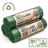 Relevo 100% Recycled Bin Liners, Heavy Duty 30L, 45 Bin Bags