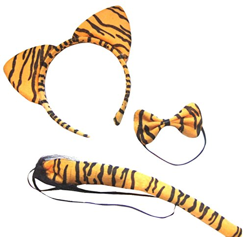 DangerousFX Orange Black Stripe Tiger Wild Animal Cat Ears Band Bow Tail Fancy Dress Up Set