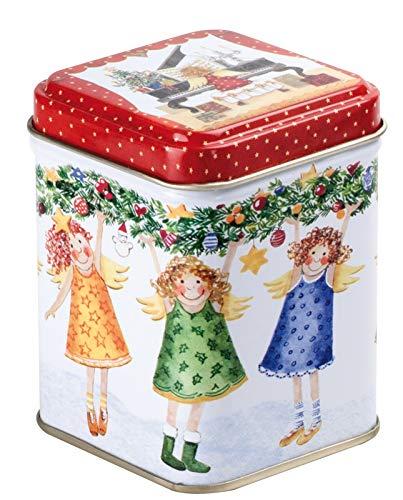 Weihnachtliche kleine Schmuckdose mit Weihnachtsengeln für ca. 25 g Tee zum Selbstbefüllen, 1 Dose