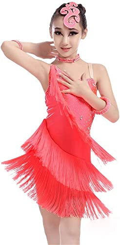 Robes Activewear Filles Robe de Danse pour Filles Fringe Perforhommece Costume de Salle de Bal Salsa Tango Tassel Robe de Danse Latine Costume De Danse Gymnastique (Couleur   Rouge, Taille   130)
