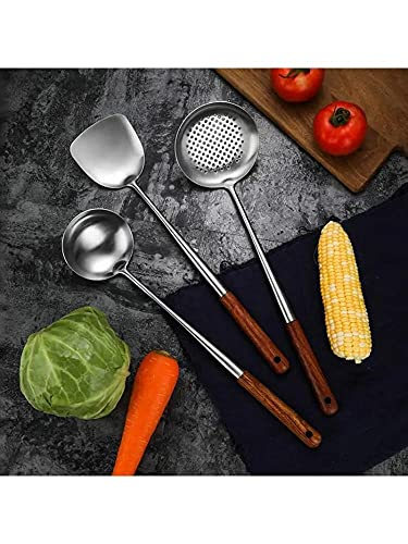 PPuujia Colander 3Pcs Wok Spatula Spoon immer Ladle Set Durable Stainless Steel Cooking Utensil