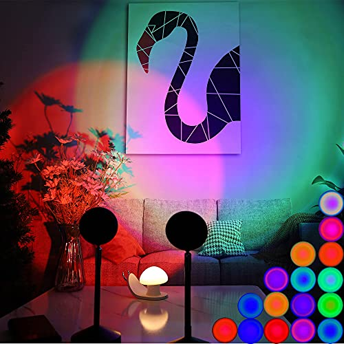 Sunset Lamp ,Romantic Sunset Projector, Remote Control for 16 Colors Sunset Light , Visual LED Night...