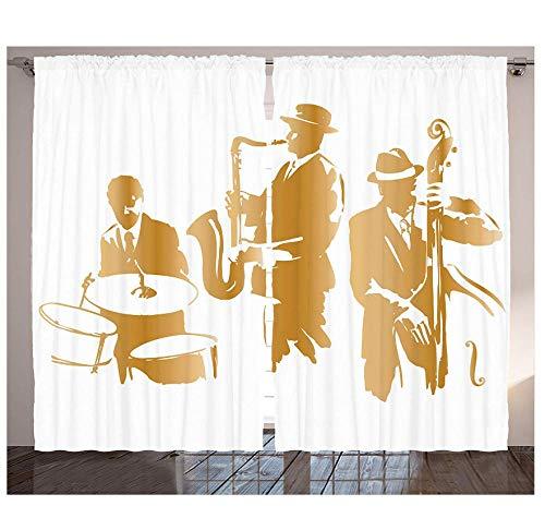 MUXIAND Jazz muziek gordijnen vintage stijl illustratie Jazzy spelen muziek Home Vibes kunst woonkamer slaapkamer decor paneel