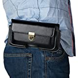 Bolsa de Cinturón Cuero Hombre Negro, Funda de Telefono con Clip de Cinturón, 6.3' Billetera Bolso de Cinturón Caso Cartera Carcasa para iPhone XR/X/8/7 Plus/6S Plus/6/5SE, Galaxy S9 Plus/S8 Plus/S10