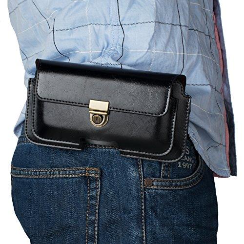"""Bolsa de Cinturón Cuero Hombre Negro, Funda de Telefono con Clip de Cinturón, 6.3"""" Billetera Bolso de Cinturón Caso Cartera Carcasa para iPhone XR/X/8/7 Plus/6S Plus/6/5SE, Galaxy S9 Plus/S8 Plus/S10"""