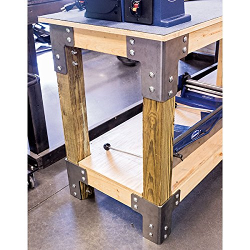 Eastwood 8 Pieces Sturdy Steel Angle Brackets Shop Table Kit Unpainted Bare Steel Multi-Angle Joint Fastener Shelf Support for Desk Edge & Box & Wood Beam