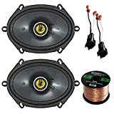 Car Speaker Set Combo Of 2 Kicker 6x8' Inch 450W 2-Way Car Coaxial Stereo Speakers, 2 Metra 72-5600 Speaker Connector for Ford, Lincoln, Mazda, Mercury, Enrock 50ft 16g Speaker Wire