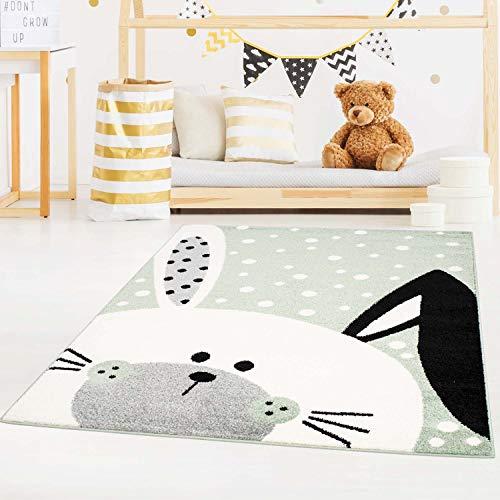 carpet city Kinderteppich Bubble Kids Flachflor Schlappohr-Hase, weiß gepunktet in Grün für Kinderzimmer; Größe: 140x200 cm