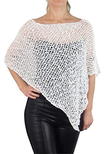 MIMOSA Ladies Popcorn Crochet Stretch Lace Fish Net Batwing Small Poncho (One Size, White)