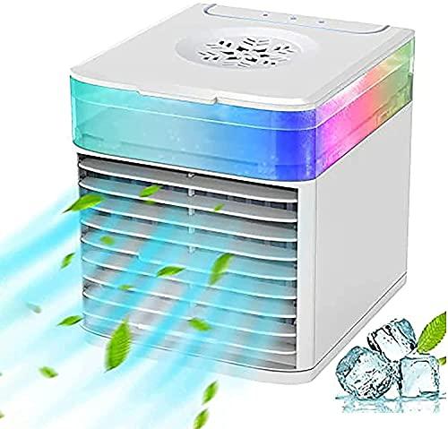 Ventilador de aire acondicionado portátil para el hogar, purificación Humidificador de aire de refrigeración de aire, mini refrigerador de aire evaporativo con 3 velocidades de color de noche de color