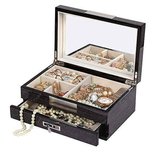 Kendal Unisex Wooden Jewelry Box Case Ring Storage Organizer with Piano Paint (Black)