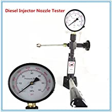 KAWISH Fuel Test 400Bar/6000PSI Diesel Fuel Injector Tester Heavy Duty Diesel Injector Nozzle Tester with Dual Scale Gauge to Adjust Injector Nozzle Pressure and Testing